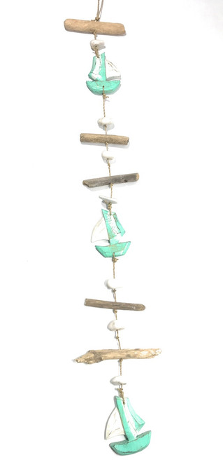 """Driftwood Garland Boat w/ White Stone 40"""" Turquoise 