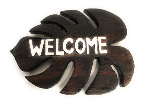 """Welcome"" Brown Monstera Sign - Hawaiian Decor 