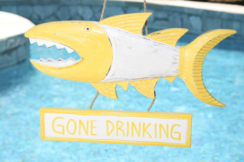 """Gone Drinking Sign 15"""" Shark Attack - Rustic Yellow Nautical Decor 
