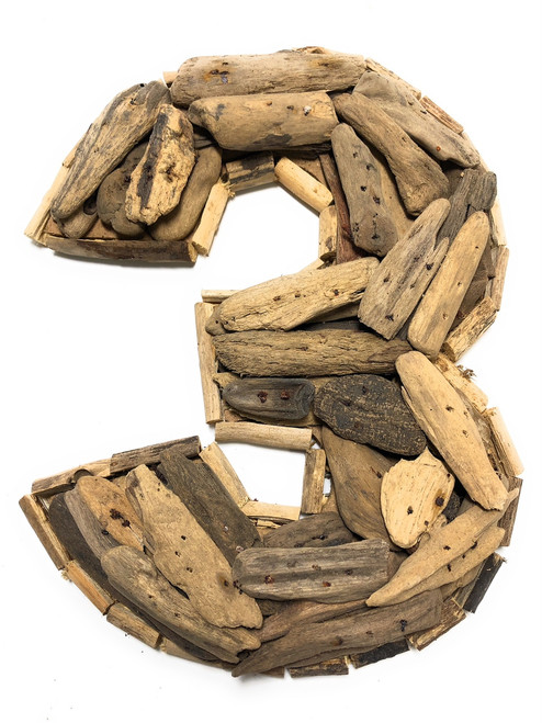 """""""3"""" Driftwood Number 10"""" Home Decor - Rustic Numerical 