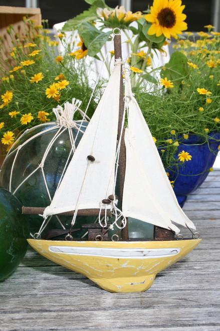 "Decorative Sailboat 12"" Wall Hanging - Yellow Nautical Decor | #ort1700738y"