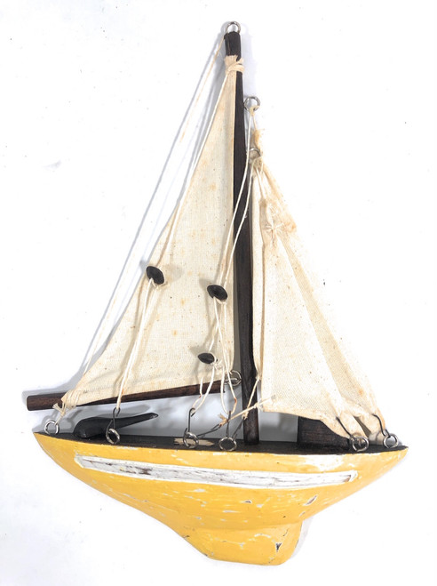 "Decorative Sailboat 12"" Wall Hanging - Yellow Nautical Decor 