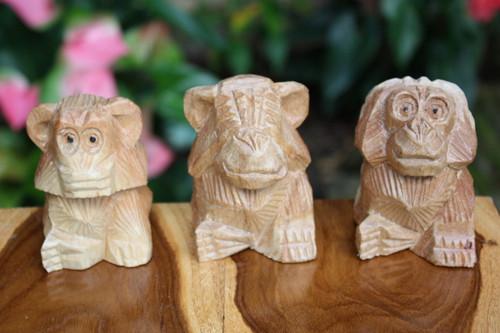 "Set of ""3 Wise Monkeys"" Hear Speak See No Evil - Hand Carved   #rum03"