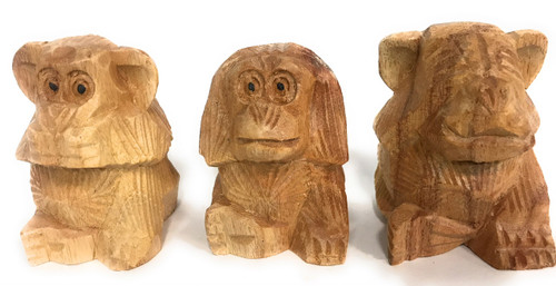 "Set of ""3 Wise Monkeys"" Hear Speak See No Evil - Hand Carved | #rum03"