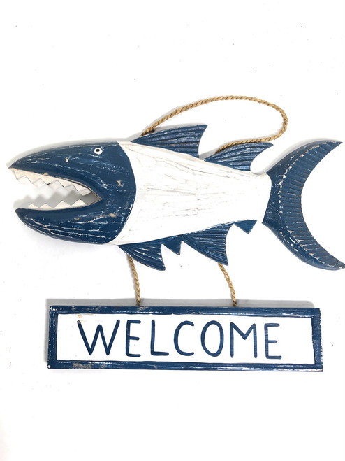 "Welcome Sign 15"" Shark Attack - Rustic Blue Nautical Decor 