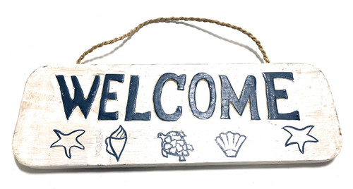 "Welcome Sign 14"" w/ Seashells - Cottage Coastal Decor 