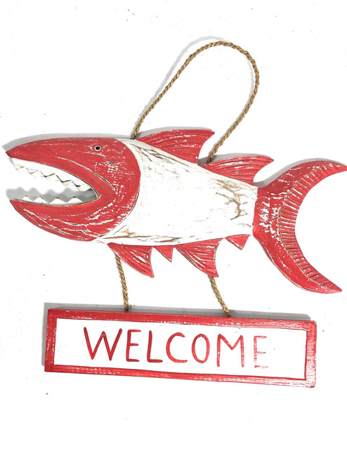 "Welcome Sign 15"" Shark Attack - Rustic Red Nautical Decor 