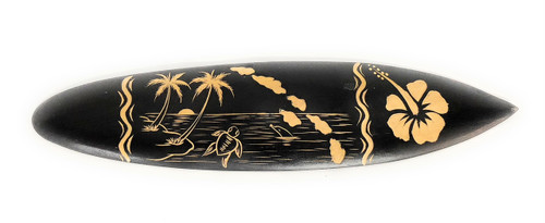 """Surfboard w/ Sea Life & Hibiscus 16"""" 