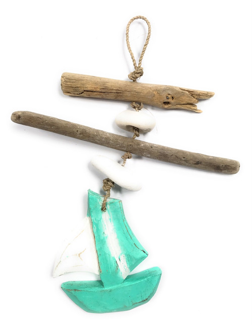 """Driftwood Boat Garland w/ White Stone 12"""" Turquoise 