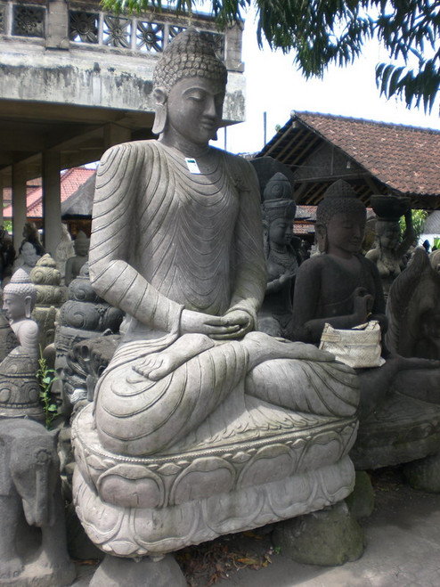 Black Stone Buddha 8-foot - Hand Carved Outdoor | #SA01