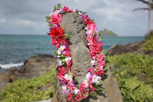"Silk Lei Merrie Monarch Pink 18"" - Hawaiian Silk Leis"
