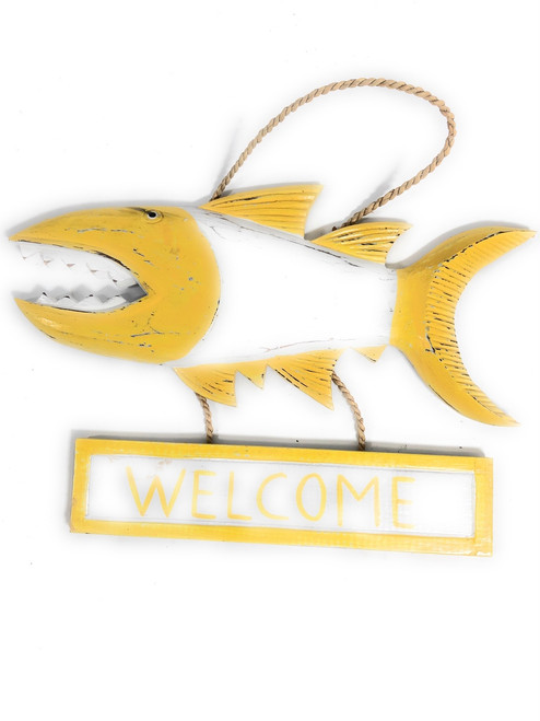 "Welcome Sign 15"" Shark Attack - Rustic Yellow Nautical Decor 