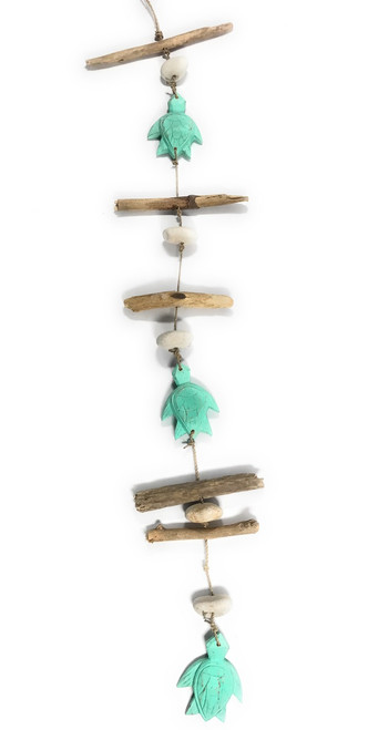 "Driftwood Garland Turtles w/ White Stone 40"" Turquoise - Cottage Accents 