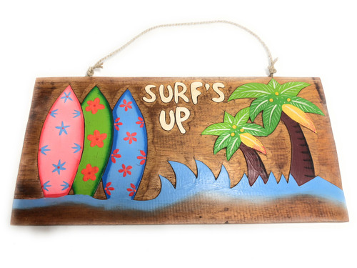"""Surf's Up"" On the Beach Surfboards Sign - Beach Decor 