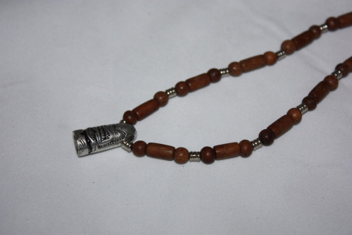 Choker Bullet Tiki Necklace w/ Wooden Beads 16"