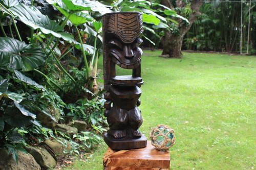 "Warrior Ku Tiki Sculpture 26"" Hawaii Stained - Hand Carved | #yda1100460b"