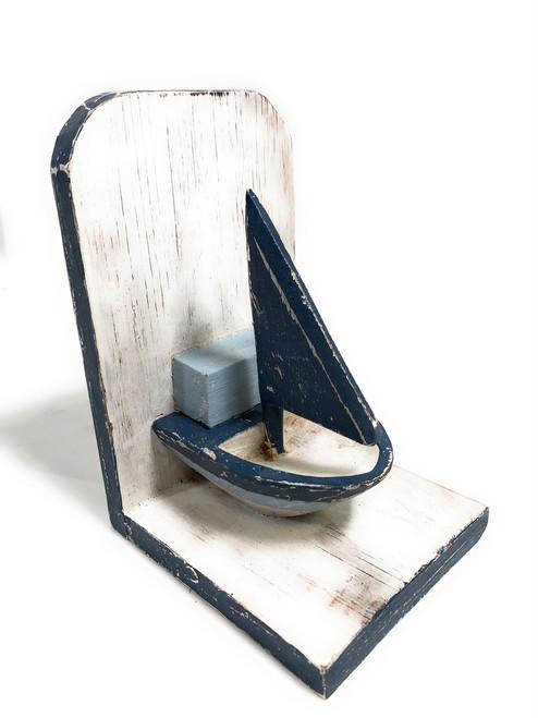 "Set of Bookends Sailboat 8"" - Rustic Coastal Decor - Cottage   #ort1702218"