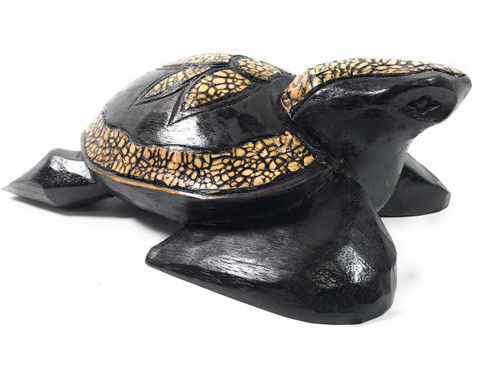 Hand Carved Turtle w/ Eggshells - Decorative 16"