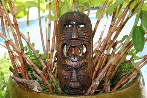 "Fijian Tiki Mask 12"" - 2 Deities Love & Prosperity 