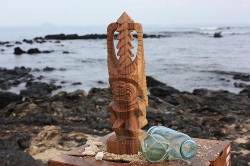 """Tiki Kona Style Akua Kai 12"""" - Natural Hawaii Museum Replica - Ocean Tiki"""