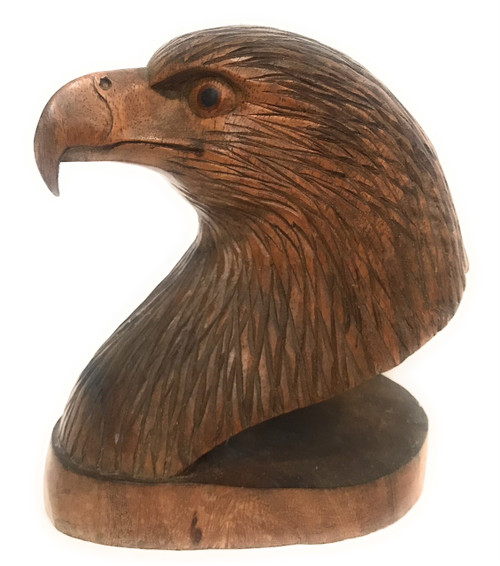 "Exquisite Eagle Head 9"" X 7"" Bookends Hand Carved 