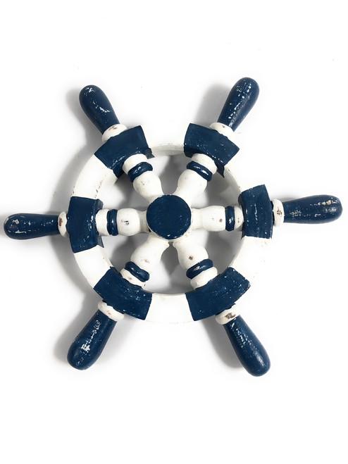 "Ship Wheel Wall Hanging 10"" Wooden - Blue Nautical Decor | #ort1701025b"