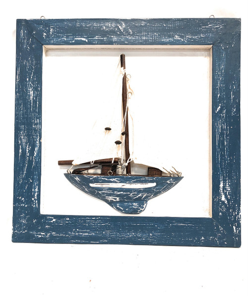"Decorative Framed Sailboat 16"" X 16"" - Blue Nautical Decor 