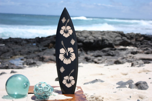 "Wooden Surfboard w/ Hibiscus Flowers 20"" - Surf Decor 