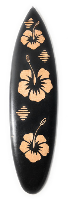 "Wooden Surfboard w/ Hibiscus Flowers 20"" - Surf Decor | #sur14g50"