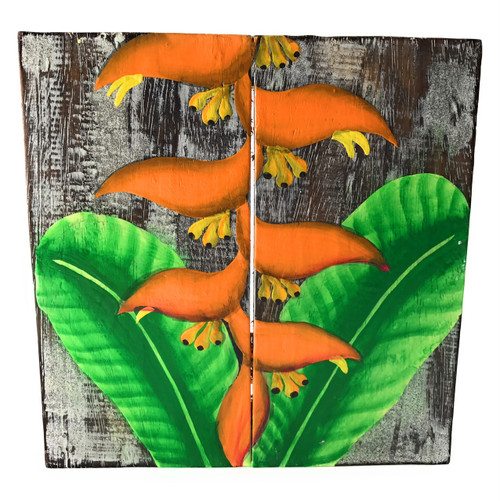 """Heliconia Flower Painting on Wood Planks 8"""" X 8"""" Rustic Wall Decor 