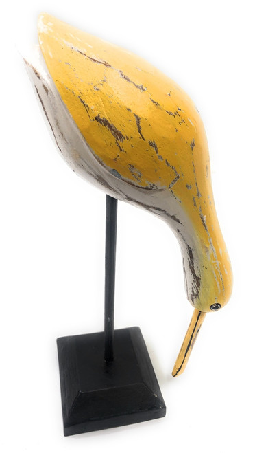 "Decorative Wooden Eating Egret Bird 14"" - Yellow Coastal Decor 