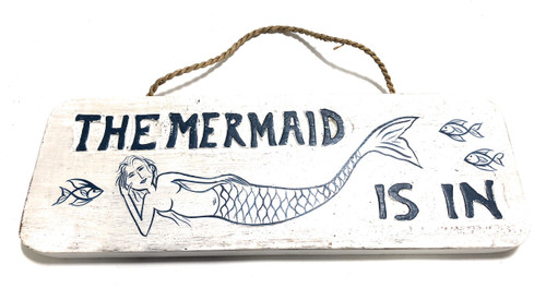 """The Mermaid Is In Sign 14"""" - Beach Style Decor 