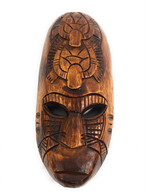 "Fijian Tiki Mask 12"" w/ 2 Turtles - Oceanic Art 