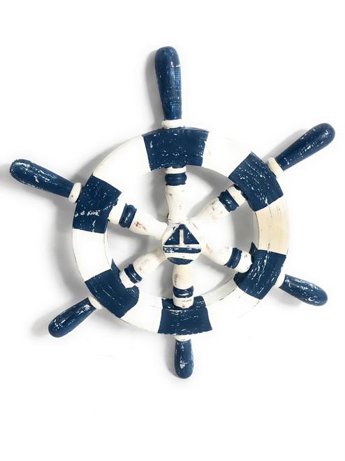 "Decorative Ship Wheel 16"" Wooden - Rustic Blue Nautical Decor | #ort1701040b"