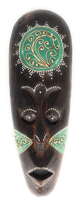 """Tribal Tiki Mask 12"""" Green - Tattoo Primitive Art   #wib370230g"""