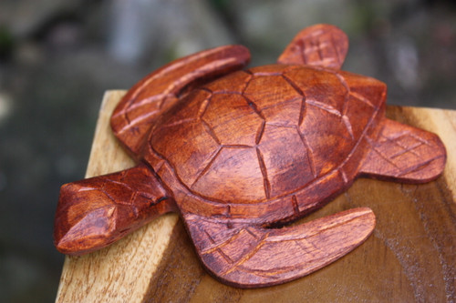 "Carved Hawaiian Turtle Honu 5"" Stained - Hand Carved 