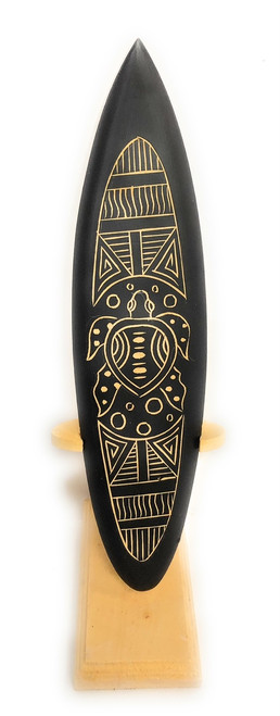 "Surfboard On Stand w/ Tribal Turtle 10"" - Trophy 