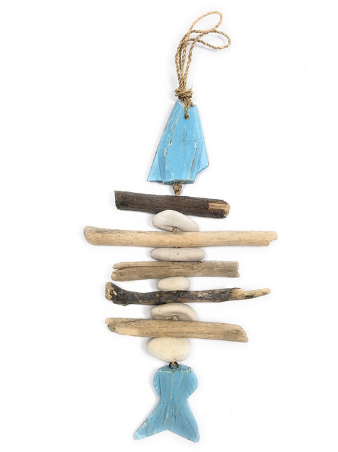 """Driftwood Fish w/ White Stone 12"""" Blue - Rustic Cottage Accents 