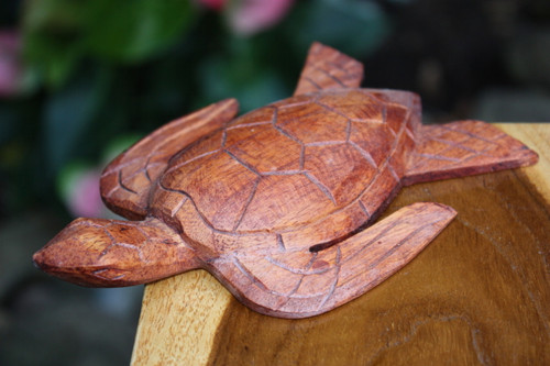 """Carved Hawaiian Turtle Honu 6"""" Stained - Hand Carved   #raw0315"""