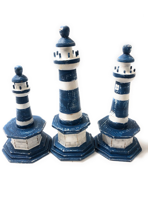 "Set Of 3 Lighthouses 9"", 8"" & 7"" - Blue Nautical Decor 