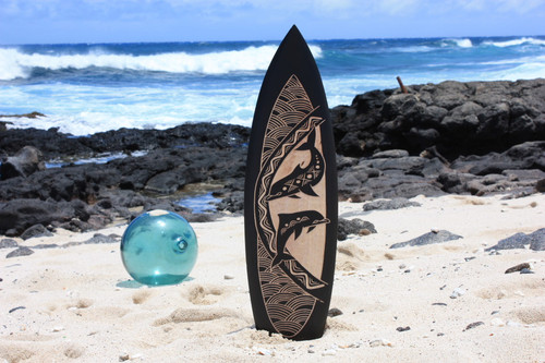 "Wooden Surfboard w/ Dancing Dolphins 30"" - Hawaii Decor 