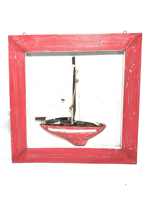 "Decorative Framed Sailboat 16"" X 16"" - Red Nautical Decor 