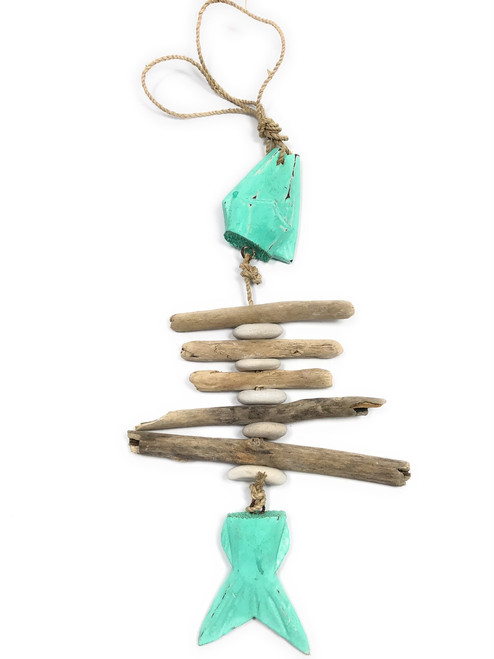"""Driftwood Garland Fish w/ White Stone 12"""" Turquoise - Rustic Cottage Accents 