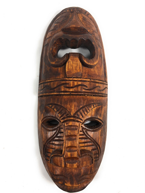 "Fijian Tiki Mask 12"" - 2 Deities Love & Long Life 