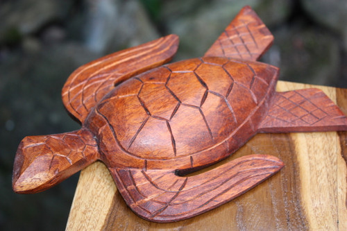 "Carved Hawaiian Turtle Honu 8"" Stained - Hand Carved 