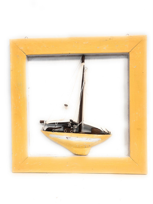 "Decorative Framed Sailboat 16"" X 16"" - Yellow Nautical Decor 