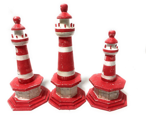 "Set Of 3 Lighthouses 9"", 8"" & 7"" - Red Nautical Decor 
