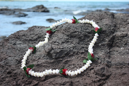 "Lei Pikake w/ Rose Bud White & Red 18"" - Hawaiian Silk Leis"