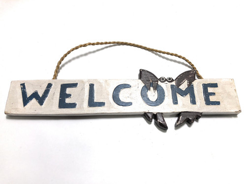 "Welcome Sign 14"" w/ Crab - Coastal Decor 