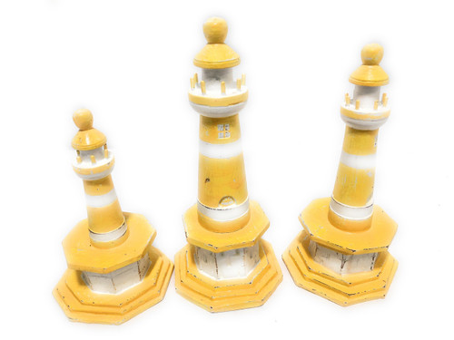 """Set of 3 Lighthouses 9"""", 8"""" & 7"""" - Yellow Nautical Decor 